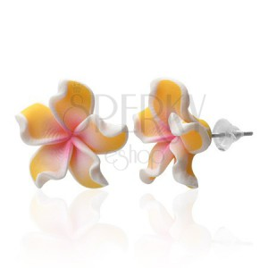 Fimo earrings - Plumeria flower, yellow curved petals