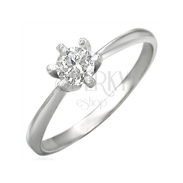 316L steel engagement ring with clear zircon, shiny shoulders