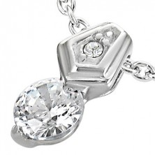 Stainless steel pendant - big and small zircon