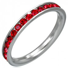 Stainless steel ring with red rhinestones