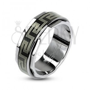 Stainless Steel Ring With Spinning Central Part In Greek Style