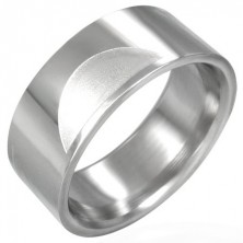 Smooth stainless steel ring with matt half-circles