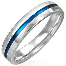 Steel ring with blue stripe - one half shiny, the other matt