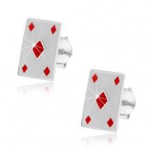 Silver 925 earrings - red diamonds