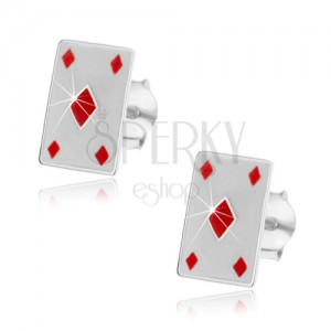 Silver 925 earrings - red diamonds
