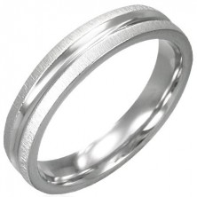 Ring made of stainless steel - shiny center, satinated edges