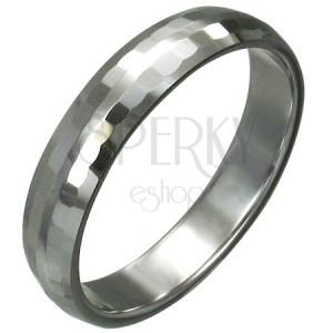 Tungsten ring with fine polished rectangles for women