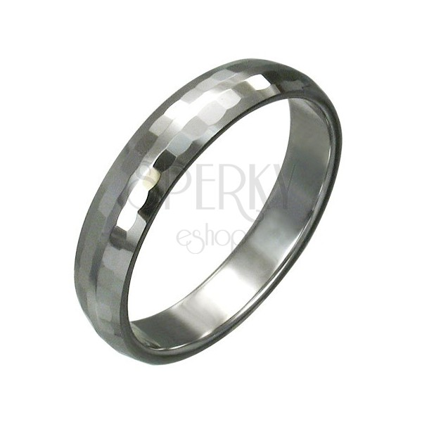 Tungsten ring with fine cut rectangles, 3 mm