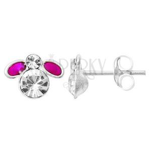 Sterling silver earrings 925 - purple fly, small wings, zirconic body