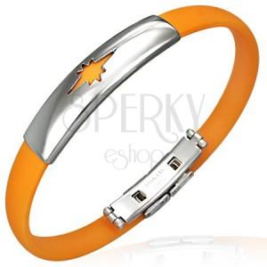 Caoutchouc bracelet - star pattern, orange