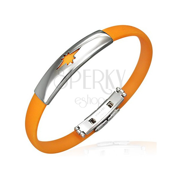 Caoutchouc bracelet - star pattern, orange