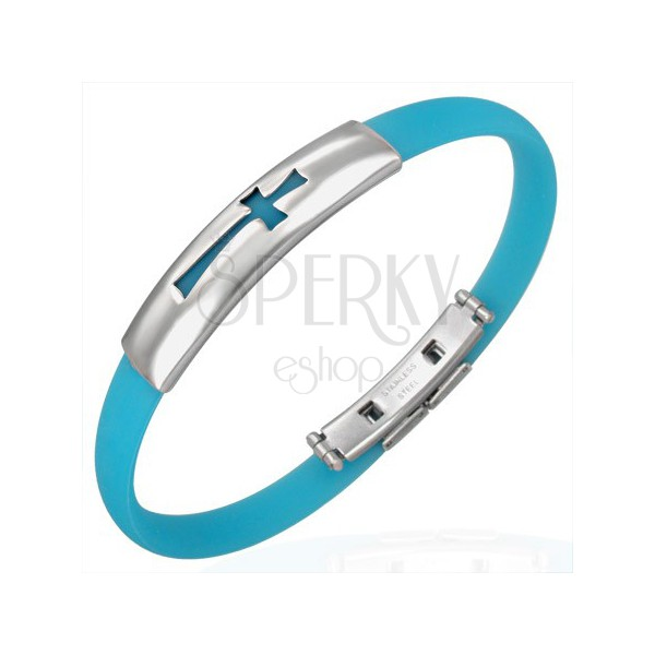Rubber bracelet - cross pattern, aqua blue