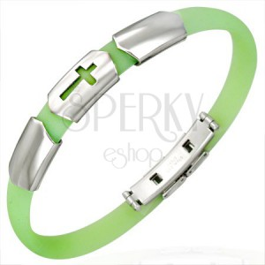 Caoutchouc lime bracelet with three steel ID plates - cross