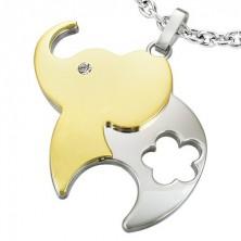 Surgical steel pendant, bicoloured elephant with flower and zircon
