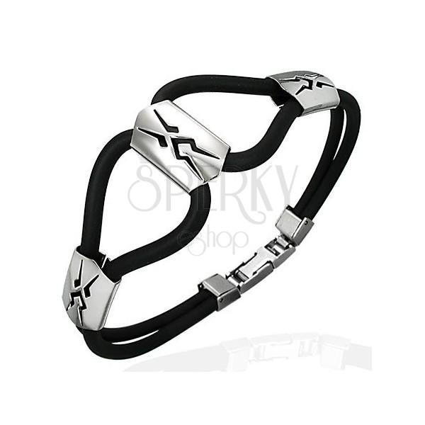 Silicone bracelet - three steel clan symbols, black