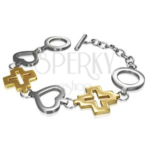Steel bracelet - circle, heart and golden cross