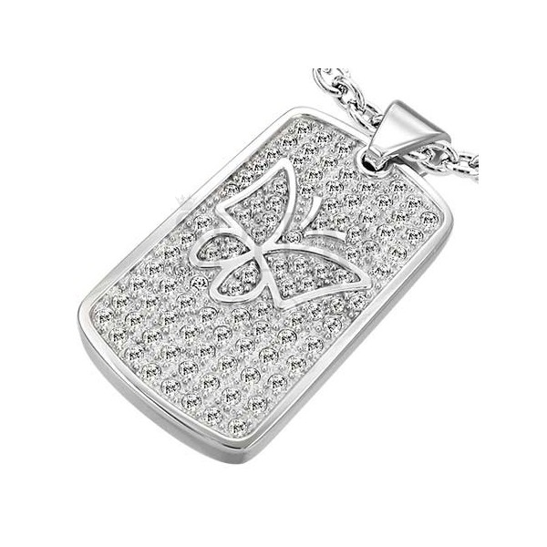 Multi-gem stainless steel pendant with butterfly