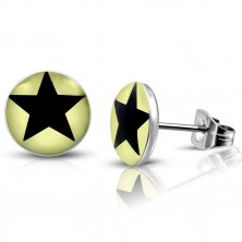 Steel earrings - light yellow circles with black star, studs