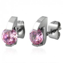 Stud earrings made of 316L steel with semicircle and pink zircon