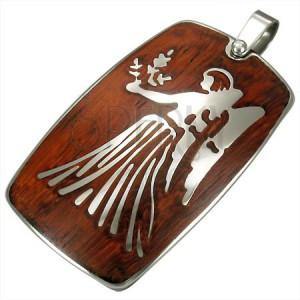 Steel pendant with wooden backgrond - Zodiac sign Virgo