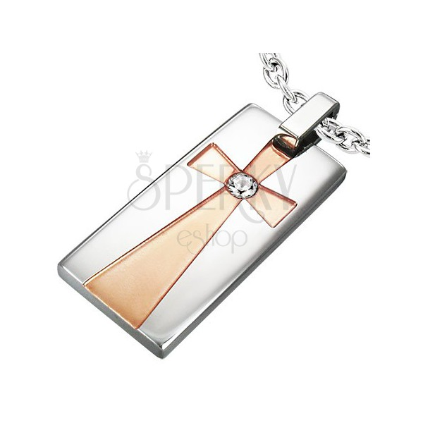 Pendant made of surgical steel - rectangle, cross in gold colour with clear zircon