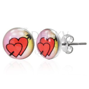 Stud earrings made of 316L steel - love hearts with arrow