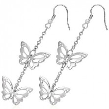 Earrings made of surgical steel - cut butterflies on chain, hooks