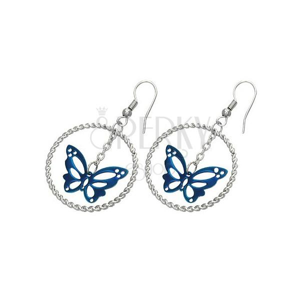 Steel earrings in silver colour, blue butterfly in circle, hooks