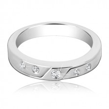 Silver ring 925 - smooth gap, five embedded zircons