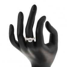 Silver ring 925 with zircon and zirconic line