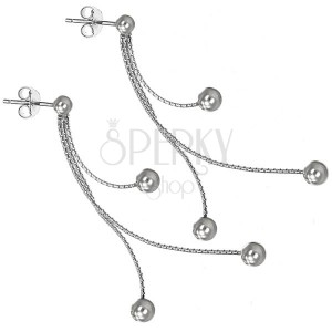 Silver stud earrings 925 - three beads on chainlets