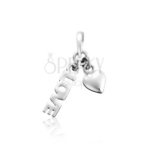 Sterling silver pendant 925 - LOVE with heart