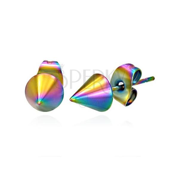 Stainles steel earrings - raibow spike
