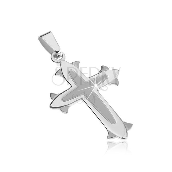 Sterling silver pendant 925 - cross with matt middle, decorative lilies at ends