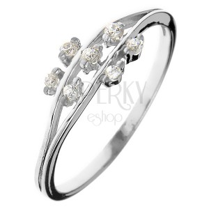 Ring made of 925 silver - tiny zirconic flowers on stems