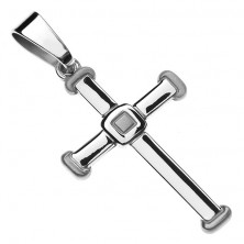 Sterling silver pendant 925 - smooth Latin cross, extended tips