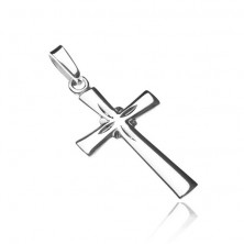 Sterling silver pendant 925 - bright cross, engraved rays