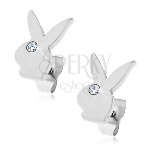 Earrings made of surgical steel - head of Playboy bunny, clear zircon