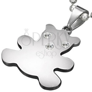 Pendant made of surgical steel in silver colour, bear with zircons