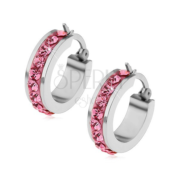 Earrings made of surgical steel with pink zircons along the perimeter