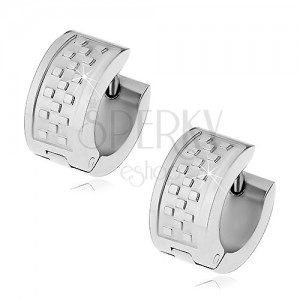 Huggie earrings made of surgical steel, silver colour, chessboard pattern