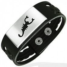 Rubber bangle with stainless steel plate and scorpion