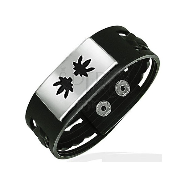 Rubber bracelet with braided pattern and metal rectangle with leaves