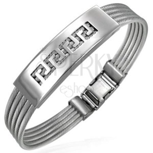 Steel bracelet with twisted wires and Greek key