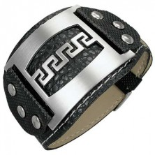 Studded leather bracelet with metal tag - Greek key