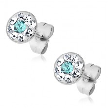 Steel earrings with lightblue and clear Swarovski crystals, stud earrings