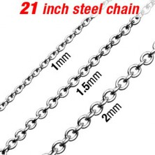 Surgical steel chain, silver colour, oval links