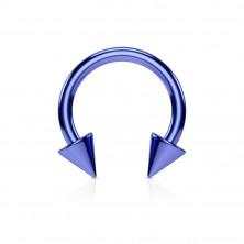 Anodized titanium spike horseshoe ring