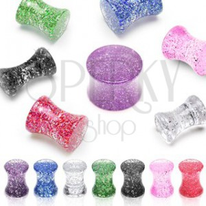 UV ear plug with glitters, saddle, marbled