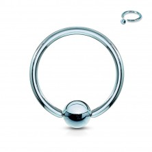 Titanium piercing - a circle and a glossy ball in the center